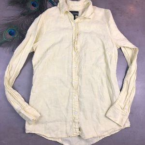 🌸6 for $15 J. Crew Perfect Fit Yellow Linen Shirt